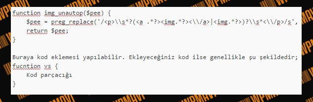 functions.php dosyasında kod nereye eklenir