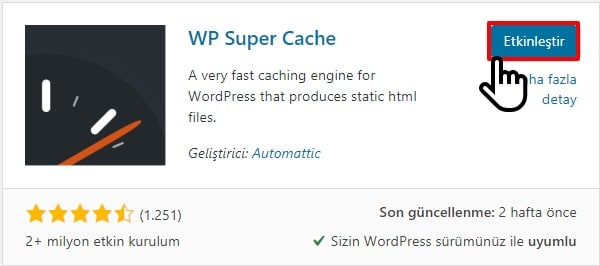 wp süper cache kurulumu 2